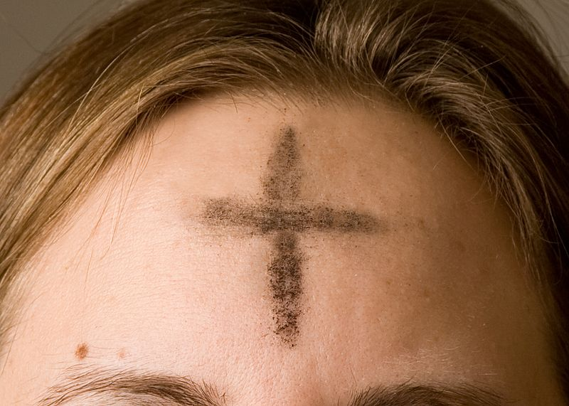 Ashes imposed on the forehead of a Christian on Ash Wednesday.
